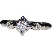 REDUCED Vintage 14k White Gold Diamond Illusion Engagement Wedding Ring, Size 6, .21 CTW