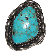 REDUCED Vintage Native American Indian Sterling & Turquoise Ring, Size 10 1/4