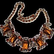 Juliana Delizza & Elster Brown & Smoky Grey Rhinestone 5 Link Necklace