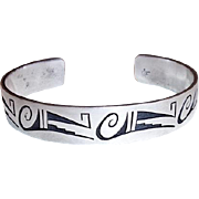 Vintage Hopi Native American Sterling Silver Cuff Bracelet Signed Clifton Mowa