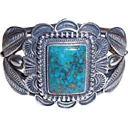 REDUCED Kirk Smith Navajo Native American Classic Sterling Silver Kingman Turquoise Cuff Brace