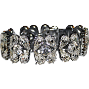 Vintage Austria Clear Rhinestone Wide Bracelet. Sparkling, Hollywood Glitz!
