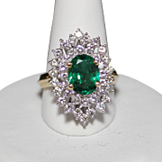 REDUCED Estate 18k Yellow Gold Natural Emerald & Diamond Cocktail Ring, 2.5 CTW, Size 7