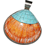 Navajo L Begay Sterling Spiny Oyster Shell Turquoise Mosaic Inlay Pendant - HUGE