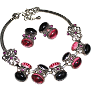Vintage Selro Pink & Purple Lucite Rhinestone Necklace, Earrings Set