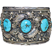 Extra Wide Vintage Navajo 5 Stone Blue Turquoise Raised Leaves Bracelet Sterling 925