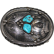 Vintage Navajo IHMSS Turquoise Belt Buckle J Toadlena, 925 Southwestern