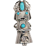 Navajo Frank & Louise Yazzie Sterling Silver Turquoise Kachina Ring, Size 7