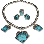 Navajo Wilson Jim Sterling Silver Turquoise 3 Piece Set Necklace Ring & Earrings