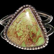 Vintage Navajo Sterling & Green Turquoise Cuff Bracelet, Signed, 44.8 Grams