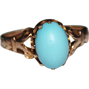 REDUCED Antique Victorian 14k Yellow Gold Turquoise Cabochon Ring, Size 5.5