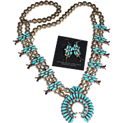REDUCED Vintage Zuni Reynold LONASEE Sleeping Beauty Turquoise Squash Blossom Necklace Earring