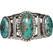 Vintage Navajo 3 Stone Turquoise Cuff Bracelet HEAVY 104.8 Grams Sterling Silver