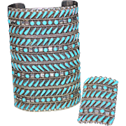 HUGE Zuni Indian 12 Row Turquoise Needlepoint Cuff Bracelet & Ring Set Sterling