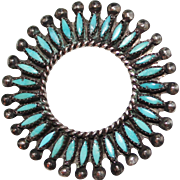 Vintage Pawn Zuni Indian Turquoise Needlepoint Sterling Silver Circle Pin Brooch