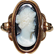 Antique 10k Yellow Gold Carved Hard Stone Cameo Ring, Size 7 1/2