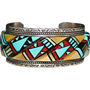 AMAZING Zuni Sterling Silver Raised Inlay Cuff Bracelet, Mosaic Turquoise Coral
