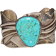Large Navajo Arrowhead Signed Turquoise Sterling Silver Cuff Bracelet 100.3 Grams