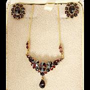 Antique 10k Yellow Gold Bohemian Garnet Necklace, Earrings Set Germany
