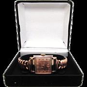 SALE Men's Vintage Art Deco Gruen watch rare rose gold filled bezel sterling silver back runs