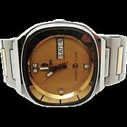 SALE Vintage 1970s Mens Rado Super Time automatic wristwatch day/date very fine runs