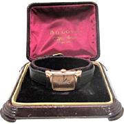 SALE Vintage 1940s Mens Bulova Squadron wrist watch 14kt rose g.f. original case