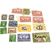 Antique 1930s era lot of new and used cancelled stamps from Ecuador