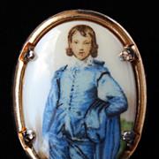 SALE PENDING Beautiful Vintage Porcelain Portrait of Blue Boy Brooch