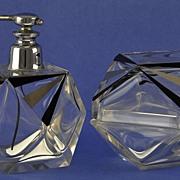 SALE GLITZY & LAVISH! Vintage, Art Deco Style, Dresser / Vanity Set: Atomizer Perfume Bottle &