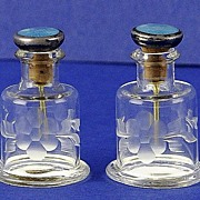 SALE PAIR! MINI, English, (Sheffield) Circa 1905, Sterling Silver & Etched Crystal Perfume