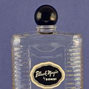 "Striking! Circa 1945, American, ""Black Magic"" by Bombi, Clear Glass, Commercial Perfume Bottle"