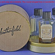 """One of a Kind! American, Circa 1929, """"Heatherfield"""" Presentation Set - THREE (3) Commercial Perfume Bottles in Original, Fitted, Circular Shaped Box by Armand Duval and Maurice"""