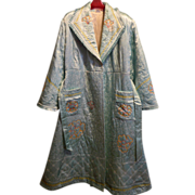 Vintage 1950's Japanese embroidered Silk Kimono and pajama set