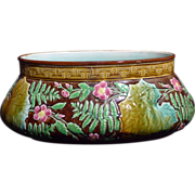 Outstanding French Majolica Choisy-le-Roi faience Floral and fern oval Center bowl