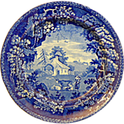 English Staffordshire Historic Dark blue Transferware plate Ca. by William Adams & Son