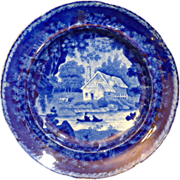 "English Staffordshire Historic blue plate by Adams ""Scenic Views"""