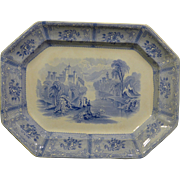 "Beautiful Rare Blue Transfer decorated platter ""Ontario"" Lake Scenery by J Heath"