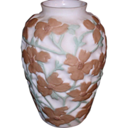 Consolidated Art Glass Sculpted Brown & Green Dogwood Vase