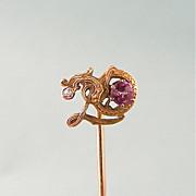 Antique 14K Gold Dragon Stick Pin with Diamond and Rose Tourmaline