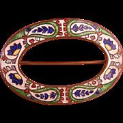 SALE Antique Guilloche Enamel Sash Pin, Boteh Motif, Brilliant Colors and Patterns, c1905
