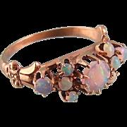 Antique Victorian Ring, Nine Opals, 14K Rose Gold, Size 4-3/4