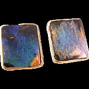 Vintage Black Opal Earrings in 9k and 14k Gold, for Pierced Ears