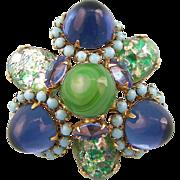 SALE Schreiner Glass Gumdrop Brooch in Green, Blue and Turquoise, Elaborate Design