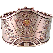 Antique Victorian Cuff Bracelet with Ornate Details in Sterling Silver, Pink and Green Gold ..