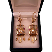 SALE Antique Victorian Ornate Earrings, 14K, with Cultured Pearls, Ruby Pastes, and Dangles, 2