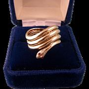 Vintage 14K Snake Ring, Very Wide, Stunning