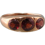 SALE Antique Victorian 10K Yellow Gold Ring with Three Dazzling Garnets, Size 9