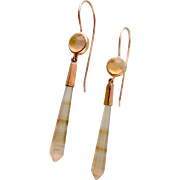 Artisan-Crafted Dangling Earrings, Art Glass and 10K Gold