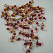 Art Deco Fringe Bib Necklace, Ruby Red and Opalescent Glass Beads