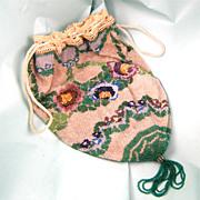 Antique Flowered Victorian Micro-Beaded Reticule, Very Fine, Pristine